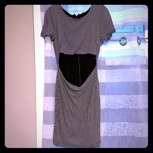 Striped Midi Dress with Cut out